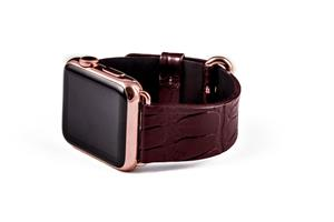 Hadoro Apple Watch Gold Rose Alligator Brown Strap