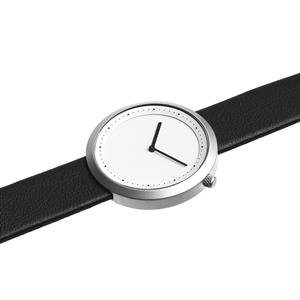 Facette Watch Matt Steel on Black Italian Leather
